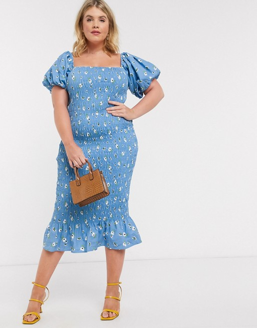 Never Fully Dressed Plus Square Neck Puff Sleeve Shirred Midi Dress In Blue Floral Print Asos In 2020 Plus Size Summer Dresses Dresses Plus Size Dresses