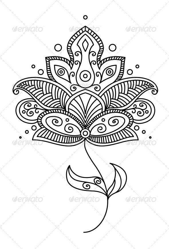 Persian Paisley Flower Design | Siluetas, Dibujo y Arte