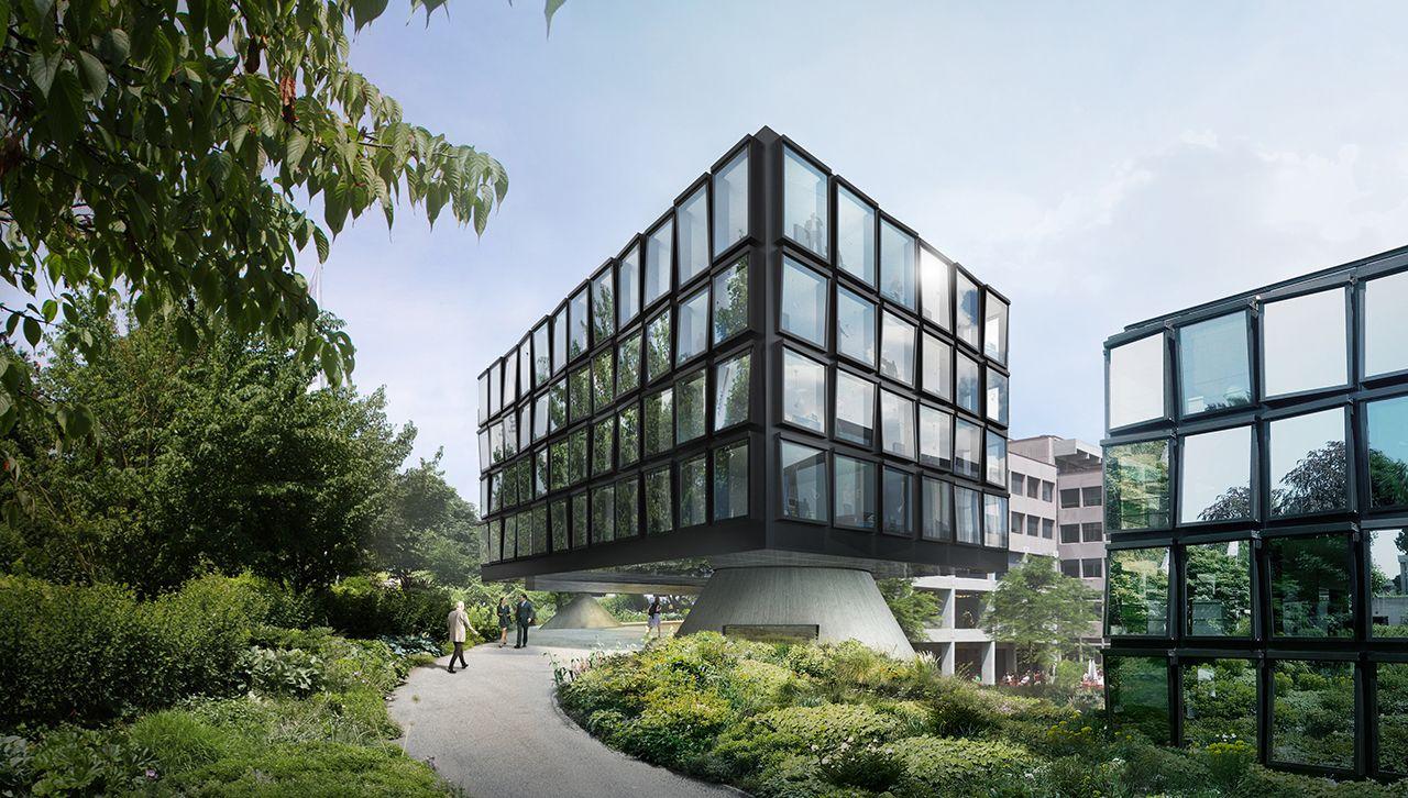 Cuarta ampliación de la oficinas centrales de Helvetia en St.Gallen. Visualización. Imagen © Herzog and de Meuron. Señala encima de la imagen para verla más grande.