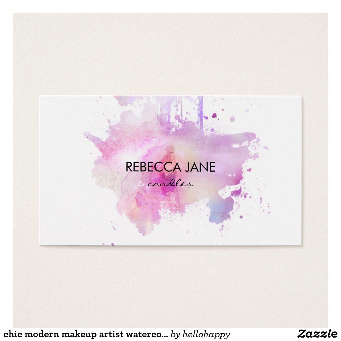 Chic modern makeup artist watercolor purple grunge business card ...