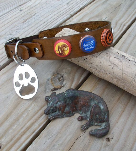 Making Unusual Diy Garden Decoration Yourself: Multi Beer Cap Dog Collar With Paw Shaped Bottle Opener
