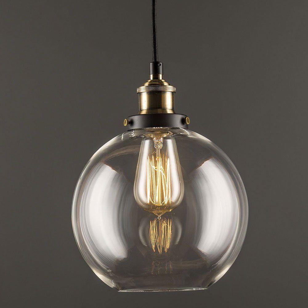 Glas Pendelleuchte Lantu Vintage Industrial Metall Bronze Glas ...