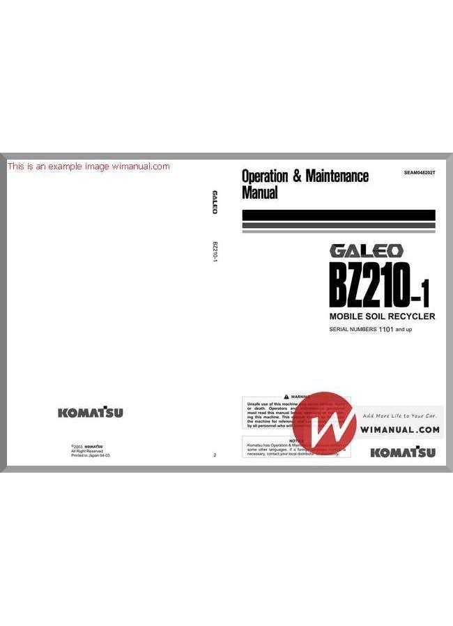 Komatsu Bz210 1 Operation And Maintenance Manual