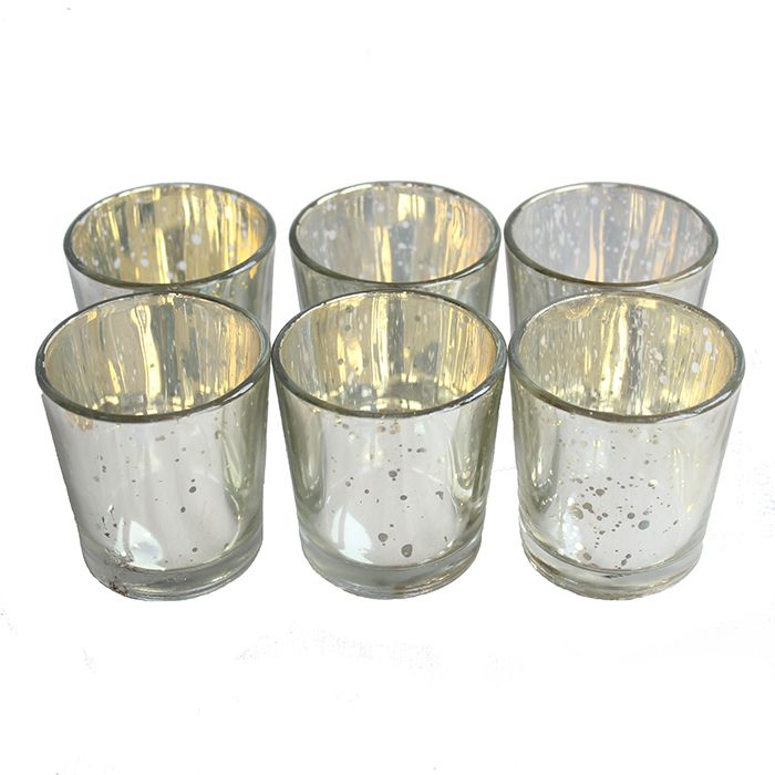 Antique silver plated glass votive holders For a touch of silver