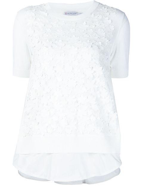 MONCLER Floral Applique Top. #moncler #cloth #top