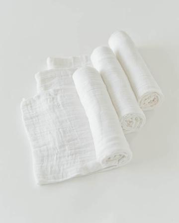 Percale Crib Sheet White Muslin Swaddle Blanket