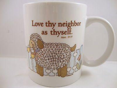 Love Thy Neighbor as Thyself Sheep Coffee Tea Cup Mug Matthew 19:19 Religious