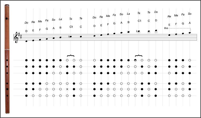 Fingering Chart For Traditional Keyless Flute  Music Fingering