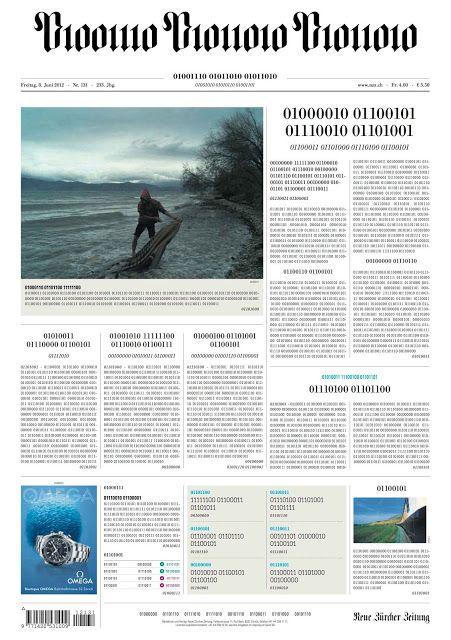"""El Neue Zeitung de Zürich es conocido como """"La Vieja Tía"""" en su país. Es un diario… suizo. Eso es: suizo. Pero son capaces de golpes como el de hoy: publicar una portada en lenguaje binario para celebrar que ya publican online su edición íntegra"""