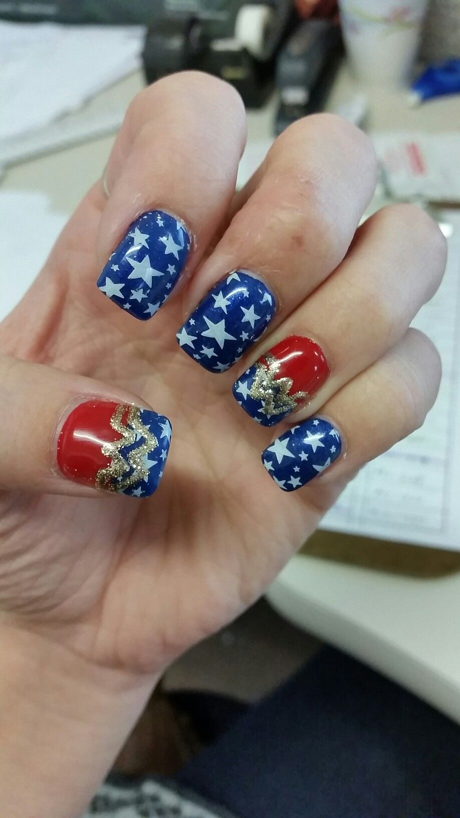Fourth Of July Nails Wonder Woman Nail Art Red White And Blue