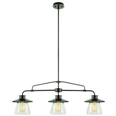Globe Electric Nate 3 Light Oil Rubbed Bronze Pendant With Clear Glass Shades 64845 The Home Depot Hanging Pendant Light Fixtures Pendant Light Fixtures Globe Electric