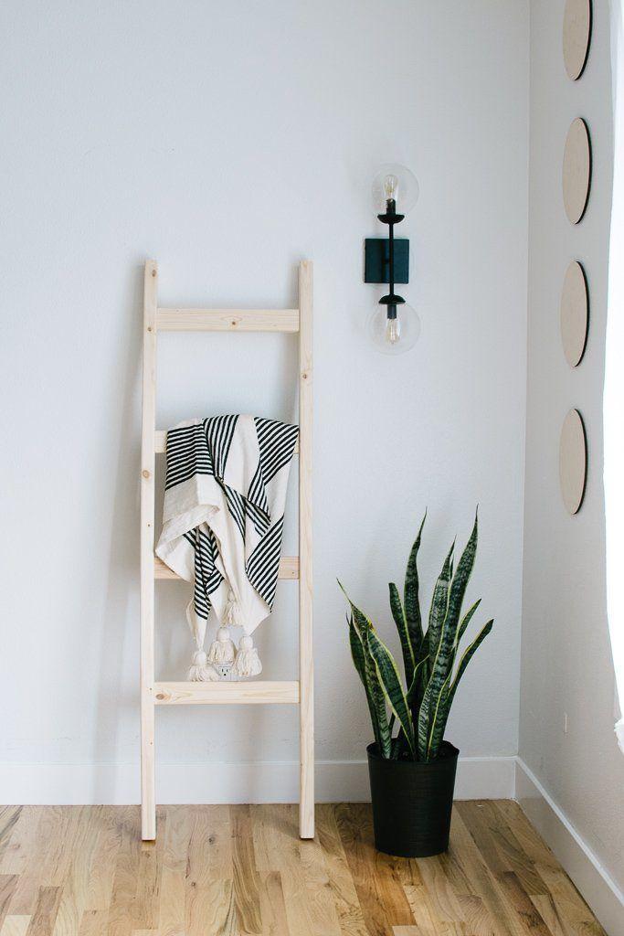 Photo of Natural Wood Modern 5 ft Blanket Ladder