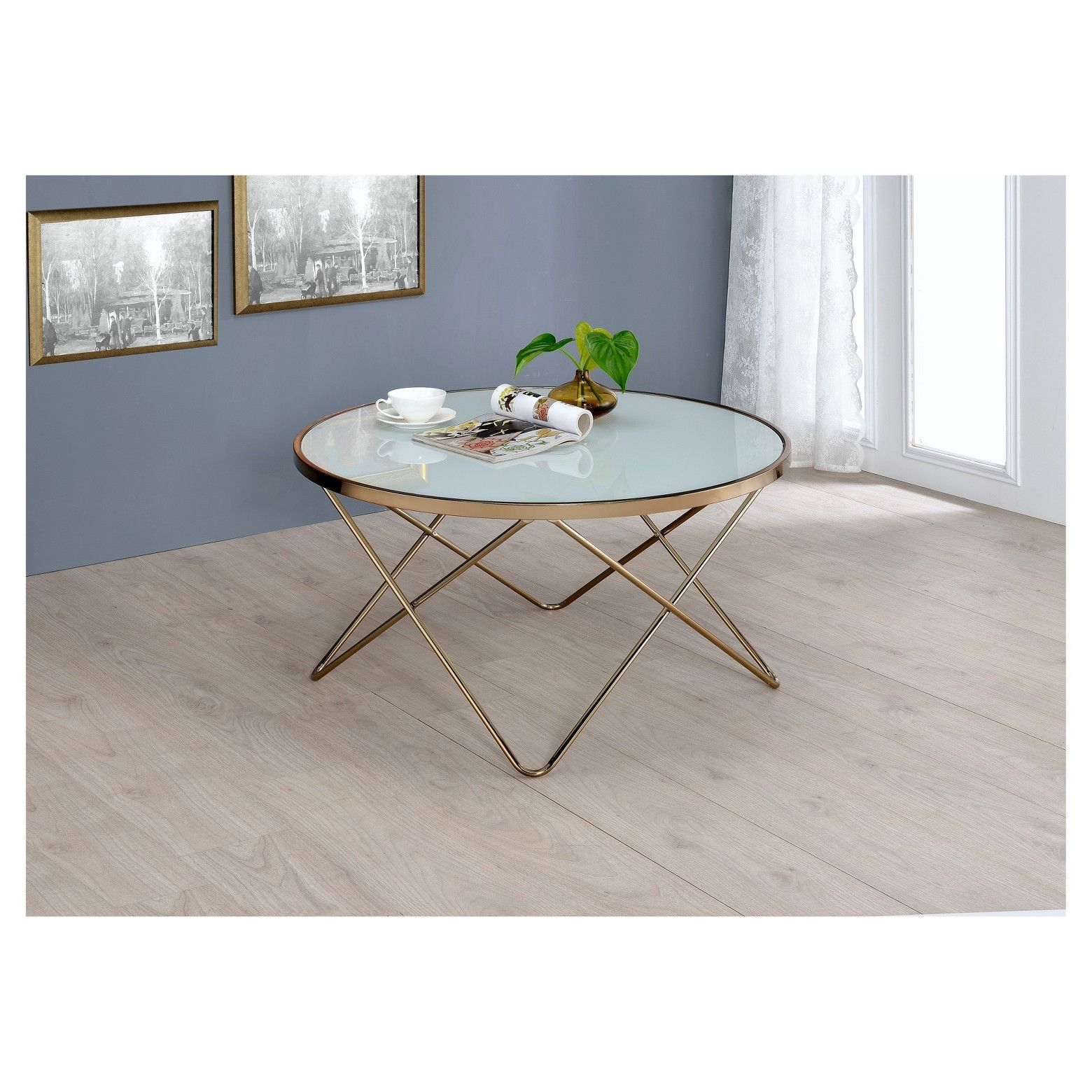 ACME Furniture Coffee Table Frosted Champagne