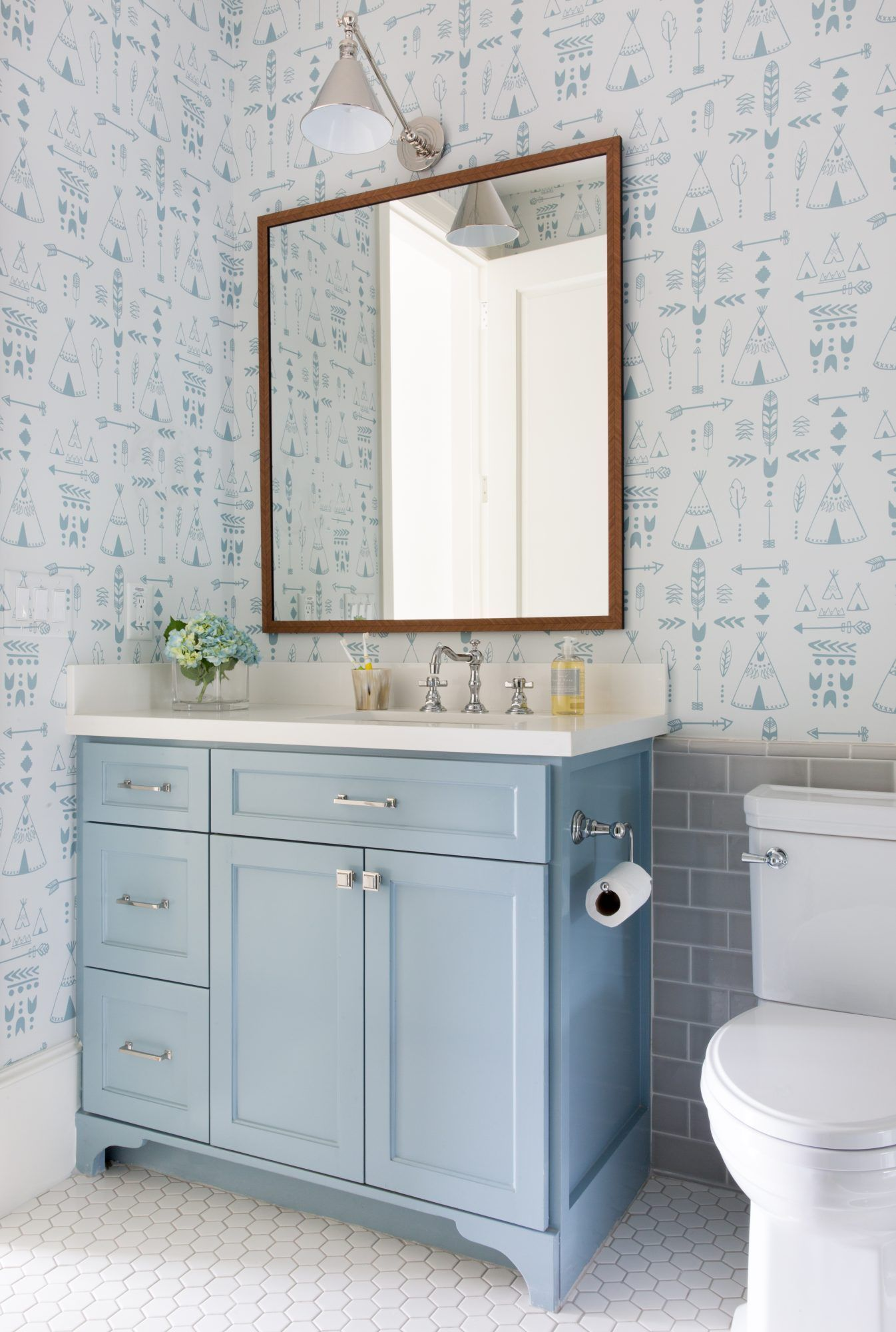 The Best Light Blue Paint Colors For Every Room According To Designers In 2020 Trendy Bathroom Tiles Gray Wallpaper Bathroom Light Blue Paint Colors