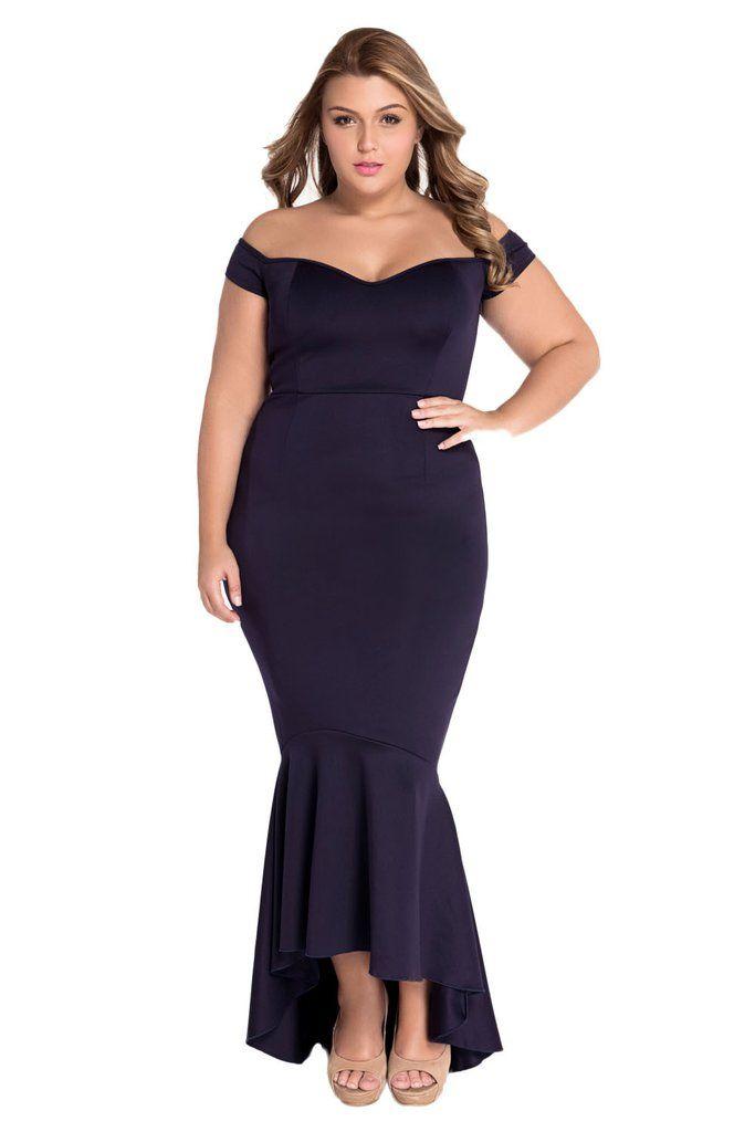 Navy f shoulder Mermaid Jersey Evening Dress