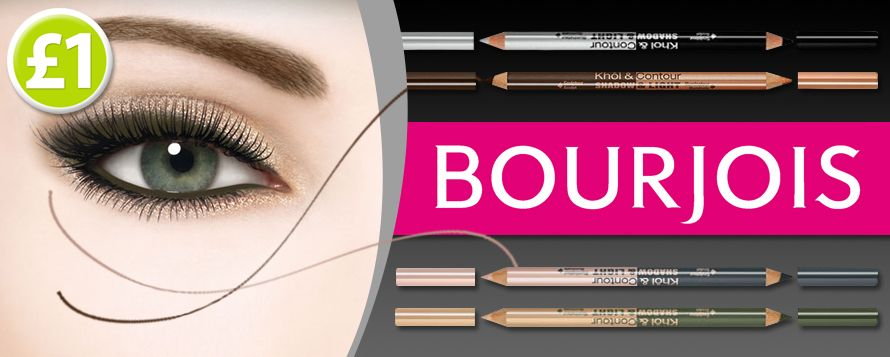Style your eyes with shadow and light! These fabulous Bourjois Khol & Contour Eyeliners are a make-up bag essential! These 4 gorgeous shades are on sale now for only £1 each www.poundshop.com/health-beauty/cosmetics/eyes?limit=100