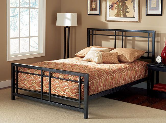 King Size Bed Frame Black Metal Master Bedroom Headboard Footboard ...