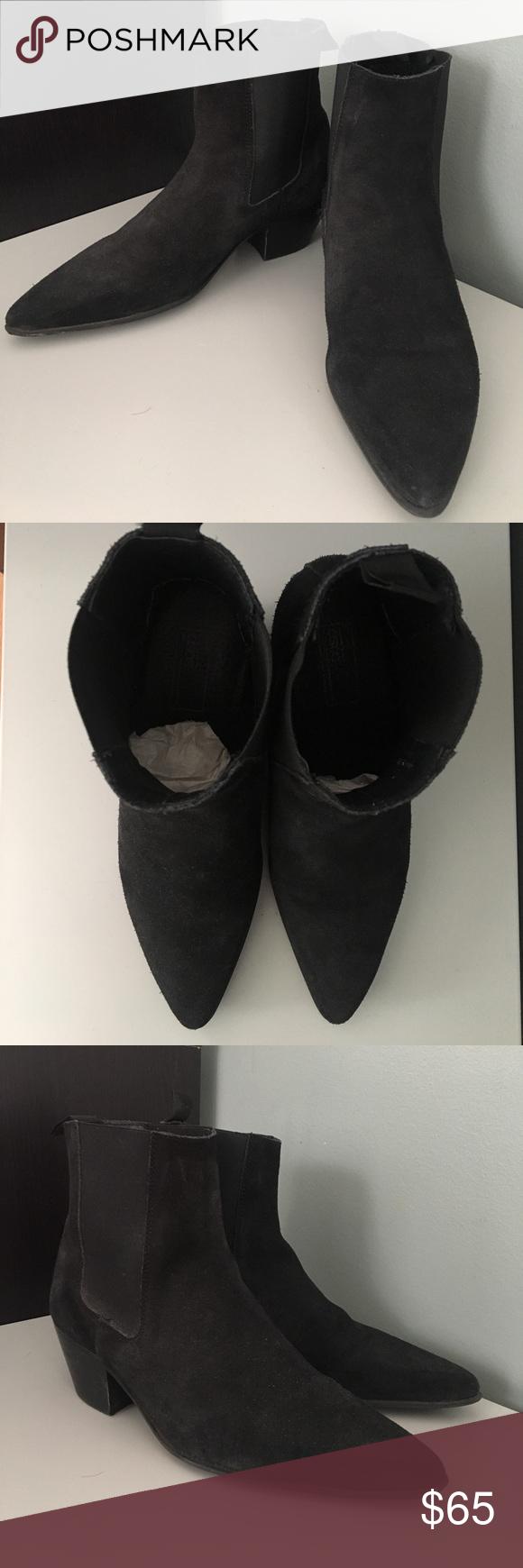 asos chelsea boots in black suede w stacked heel pinterest