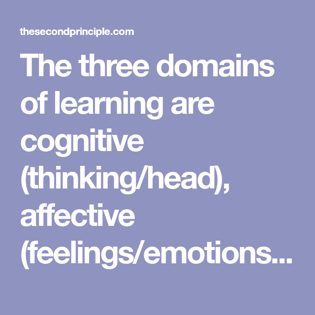 The Three Domains Of Learning Are Cognitive Thinking Head Affective Feelings Emotions Psychomotor Physical Feelings And Emotions Cognitive Emotions