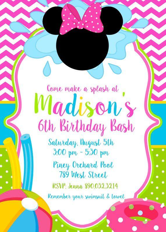 Minnie Mouse Pool Party Swim Swimming Splash Pad Splish Birthday