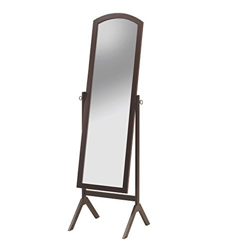 Espresso Finish Wood Curved Top Free Standing Cheval Floor Mirror Measures 60 Quot X 19 Quot X 17 Quot Some Assembly Floor Mirror Mirror Espresso Finish