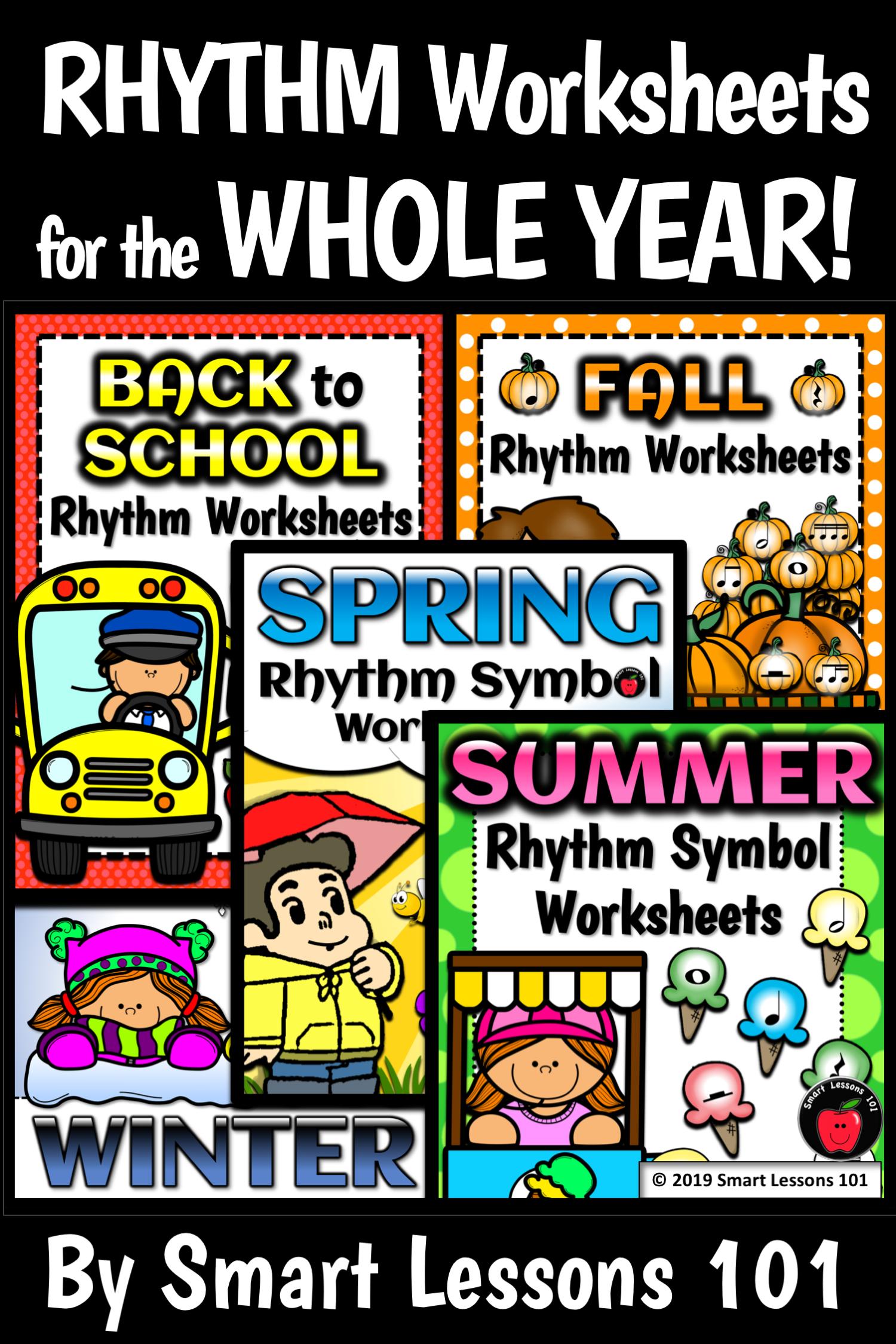 Rhythm Worksheets For The Whole Year 165 Rhythm Symbol