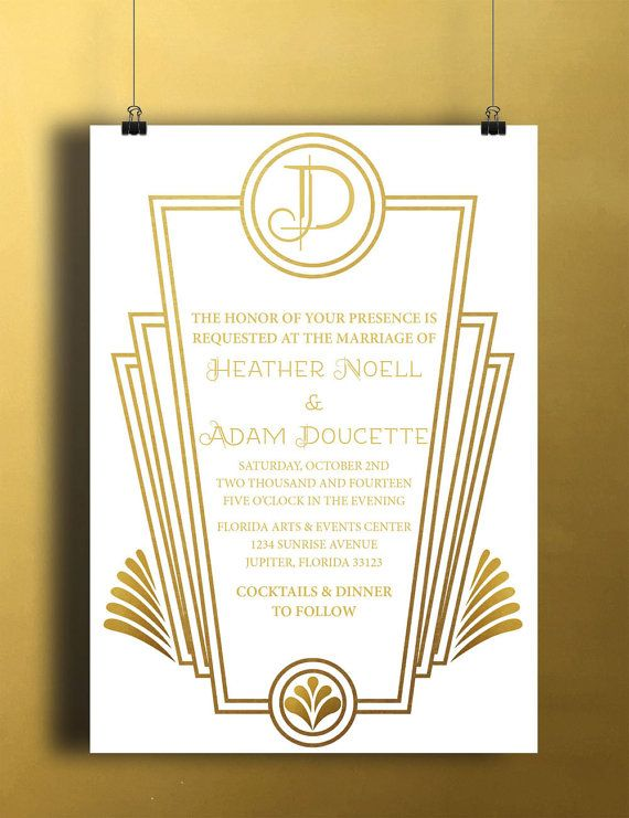Instant Download Gold White Art Deco Wedding Bridal Shower Golden