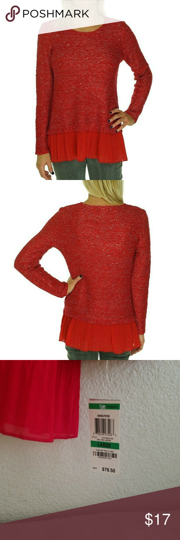 """Alfani Red Sequin Chiffon Hem Holiday Knit Sweater Alfani New Red Amore Sweater Size Large 12-14 Approximate measurements- Armpit to armpit 19.5"""" Length 30"""" Sleeves 29"""" 42% polyester, 41% acrylic, 16% nylon, 1% metallic Trim- 100% polyester Hand wash This sweater has a customer return tag on it and all of the original tags.  Thank you for looking! Make an offer! Alfani Sweaters Crew & Scoop Necks"""