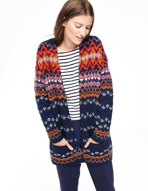 Cosy Fair Isle Cardigan WU029 Cardigans at Boden | Style ...