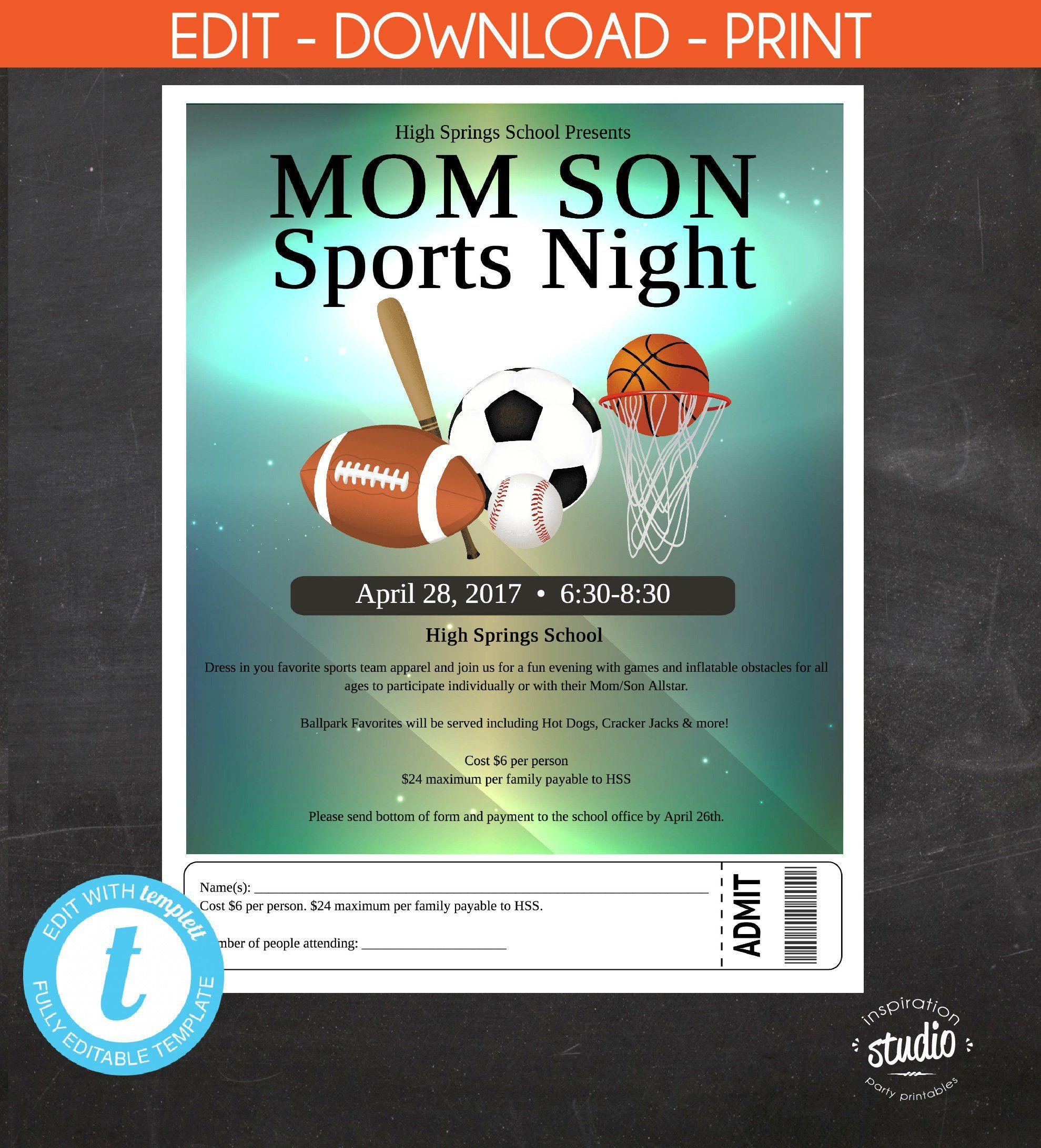 Mother Son Sports Night Field Day Event Custom Etsy School Pictures Flyer Flyer Template