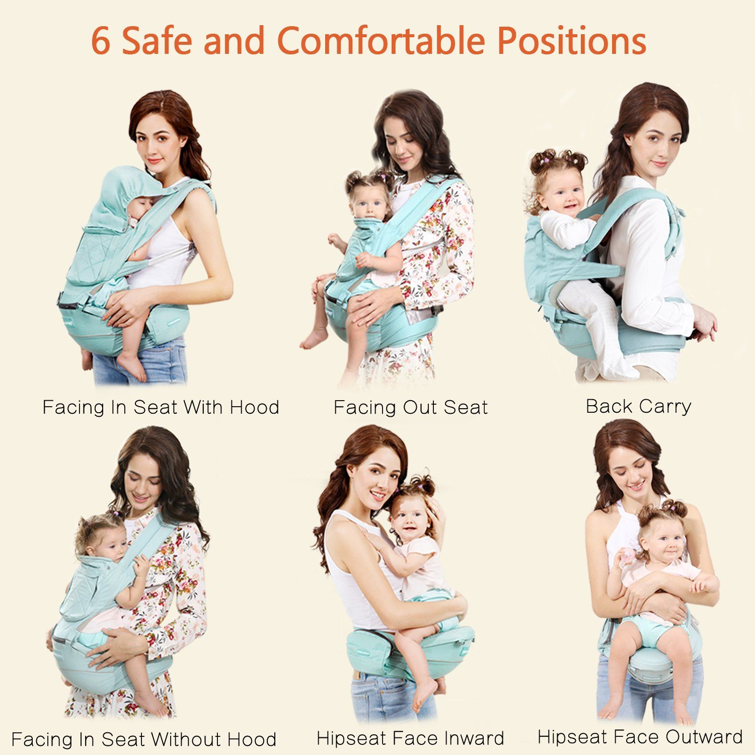 Windsleeping 6IN1 Ergonomic Baby Carrier with Hip Seat for All Seasons51 Maximum Adjustable Waistband fortable BabyCarrier