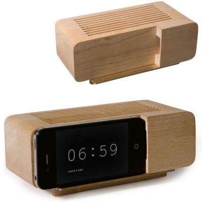 retro beech wood iphone alarm clock dock woods iphone alarm clock