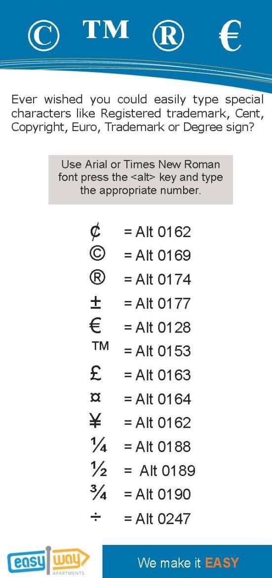 Easily type special characters like Registered trademark, Cent, Copyright, Euro, Trademark or Degree sign