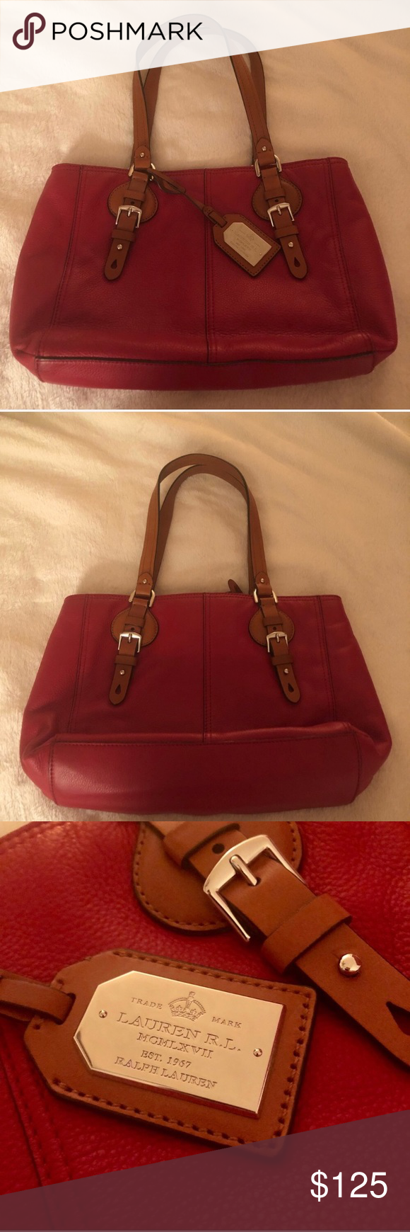 3f9e802c75 LAUREN BY RALPH LAUREN RED LEATHER SHOULDER BAG NEW WITHOUT TAGS Never Used  Lauren by Ralph