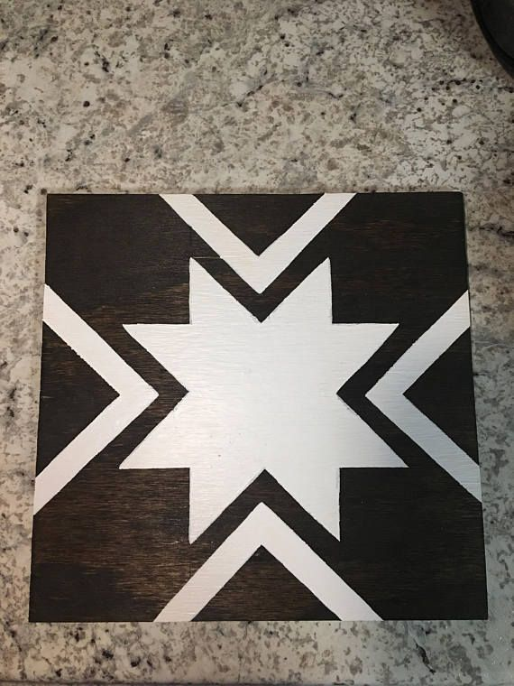 1x1 Stained Wood Barn Quilt With White Premium Paint 1532 Thick