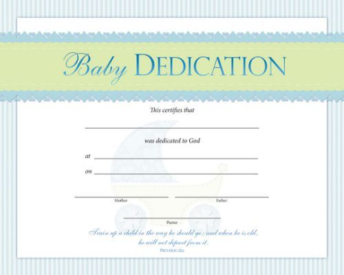 Baby Dedication Certificate Template  Baby Dedication