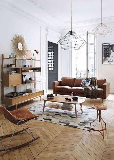 love the herringbone floors the natural light and walnut sofa rh pinterest com