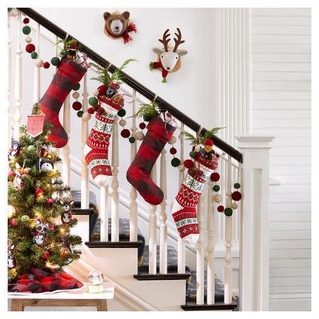 traditional christmas stocking staircase idea target staircase ideasstaircase decorationchristmas 2016christmas - Target Christmas Decorations 2016