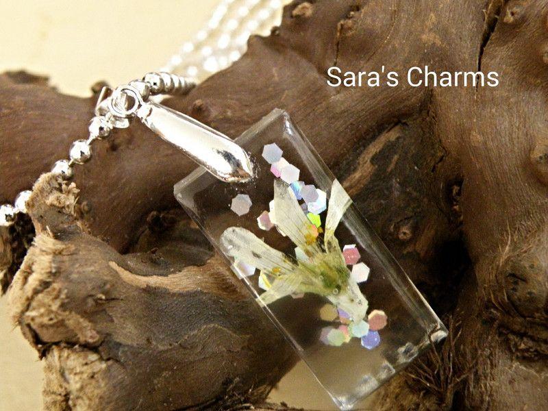 925 Silberkette Wiesenblüte in Harz gegossen von Sara´s Charms auf DaWanda.com