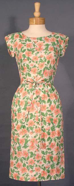 Vintage Lovely I. Magnin Pink & Green Floral 1960's Day Dress