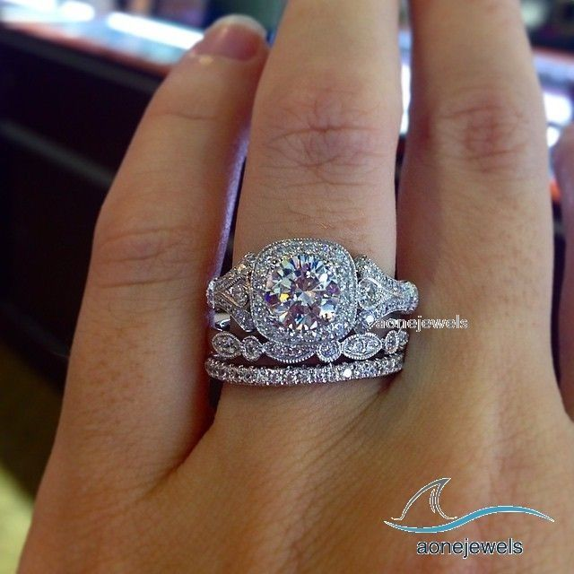 2 Ct Round Womens Wedding Sets Diamond Engagement Ring 3 Pcs Bridal Set Size5 11 Aonejewels