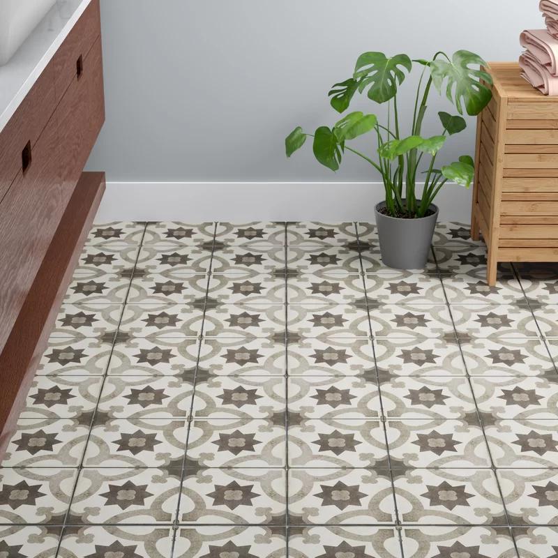 Edie 8 X 8 Porcelain Field Tile Allmodern Decorative Floor Tile Vintage Tile Floor Patterned Floor Tiles