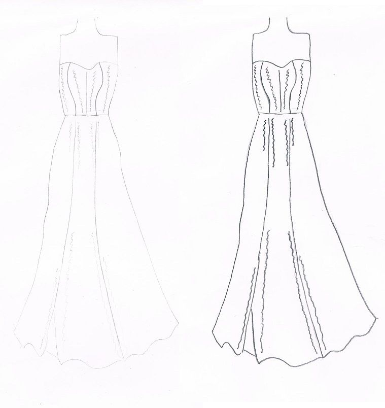 my wedding dress design both identical just a matter of light and dark