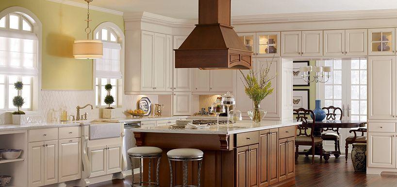 Manteo Maple Toasted Almond Glaze And Manteo Cherry Coffee Glaze By Thomasville Kitchen Cabinets And Backsplash Traditional Kitchen Inspiration Kitchen Remodel