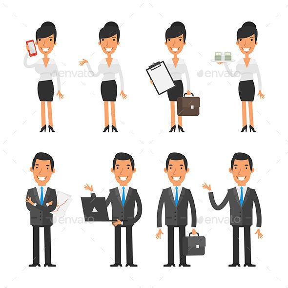 Business Woman And Businessman Modelos Personagens Bonecas