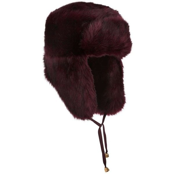 Miss Selfridge Burgundy Fur Trapper Hat ($44) ❤ liked on Polyvore featuring accessories, hats, burgundy, miss selfridge, fur trapper hat, fur hat, burgundy hat and trapper hats