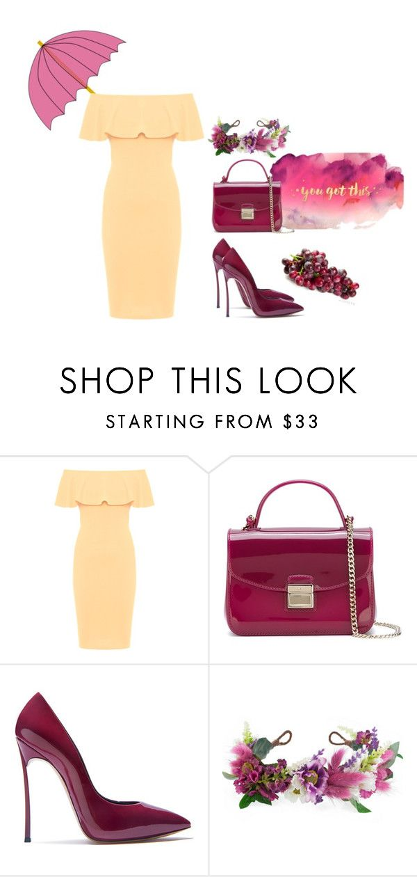 """You got this!"" by akshera ❤ liked on Polyvore featuring WearAll, Furla, Casadei, Rock 'N Rose, yellow, maroon, wine and wino"