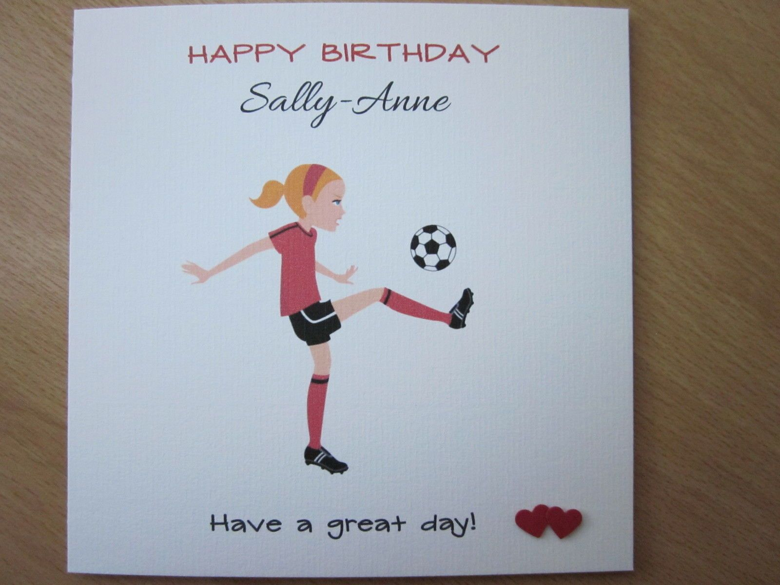 Personalised Handmade Girls Football Birthday Card 7th 8th 9th