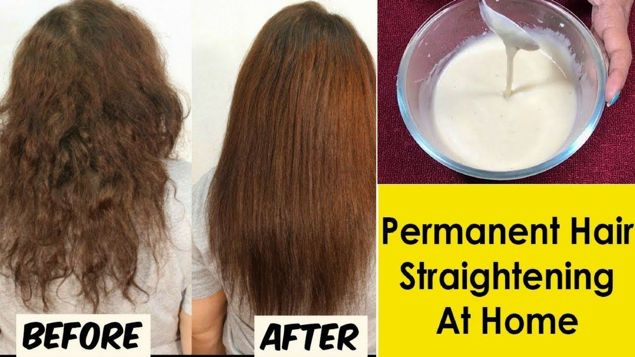 In 30 Minutes Permanent Hair Straightening At Home Without Straightener Straighten Hair Without Heat Straightening Natural Hair Straightening Curly Hair