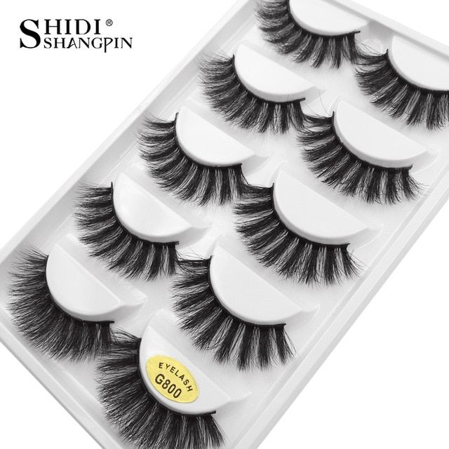 7ddd53653f5 SHIDISHANGPIN 5 Pairs mink eyelashes natural long makeup false eyelashes 3d  mink lashes 1cm-1.5cm eyelash extension faux lashes Review